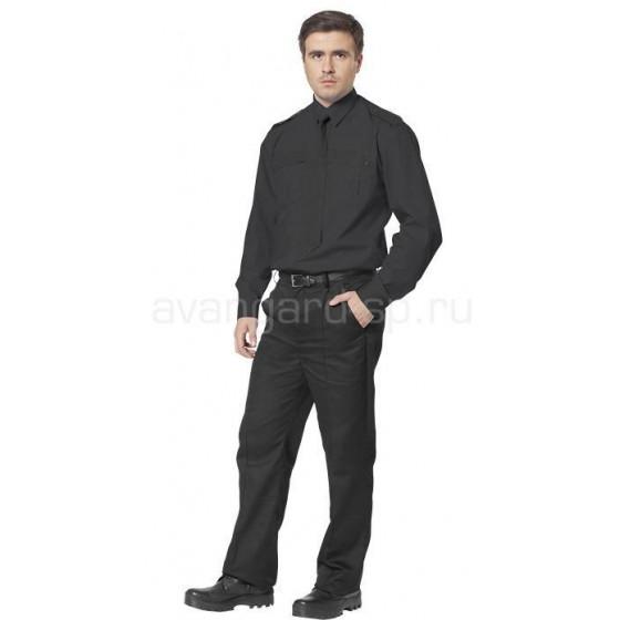 Рубашка охранника, длинный рукав, цвет черный