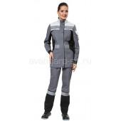 Куртка Виват женская цвет серый с св.серо-черной отделкой