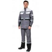 Куртка Виват мужская удлиненная цвет серый с св.серо-черной отделкой