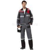 Куртка Виват мужская цвет серый с красно-черной отделкой