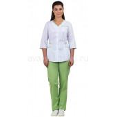 Комплект одежды медицинской женской Ольга NEW (блуза и брюки) белый+лайм