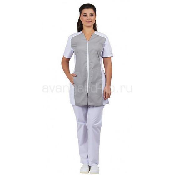 Блуза женская Тереза (белый+серый)