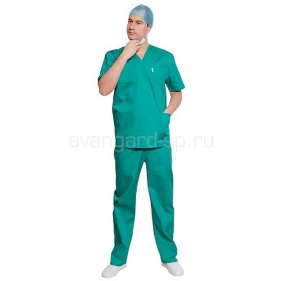 Комплект одежды медицинской мужской универсальный(блуза и брюки (зеленый))