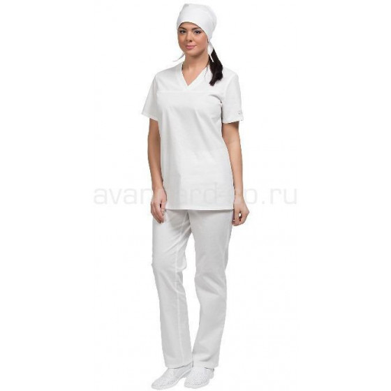 Костюм Бейкер с коротким рукавом женский цвет бел.