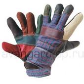 Перчатки РАДУГА кожаные комбинированные утепленные