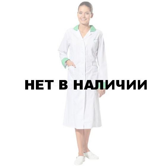Халат Настроение женский медицинский (цвет белый с зеленой отд.)
