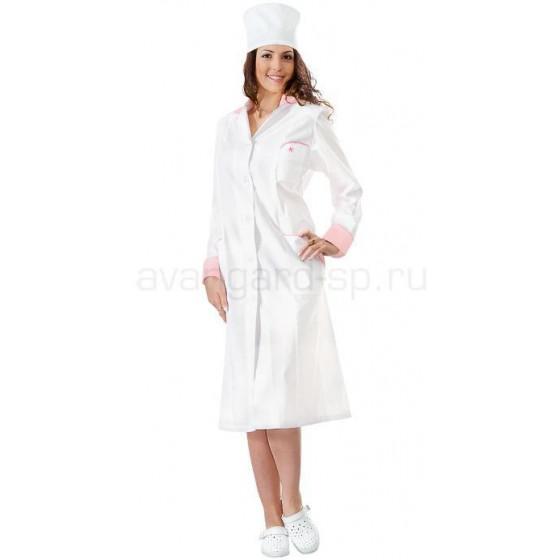 afff9bdff85ae Халат Настроение женский медицинский (цвет белый с розовой отд ...