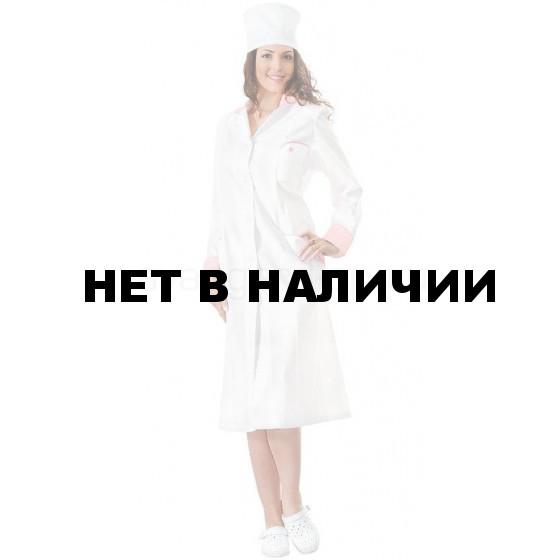 Халат Настроение женский медицинский (цвет белый с розовой отд.)