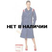 Халат женский Авангард, ткань смесовая (синий+красн.)