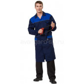 Халат мужской Технолог (ткань смесовая) цвет т. синий +василек+ светоотр. кант