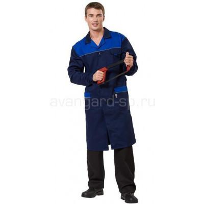 3ab6756e2462 Халат мужской Технолог (ткань смесовая) цвет т. синий +василек+ светоотр.