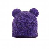 Детская водонепроницаемая шапка DexShell DH572 с помпонами фиолетовая