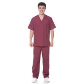 Костюм хирурга (куртка+брюки), ткань смесовая, цвет бордовый
