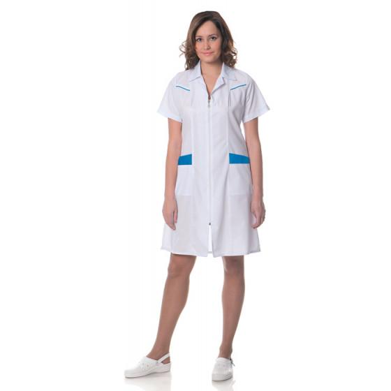 Халат женский Жасмин,тк.смесовая,цв.белый-голубой