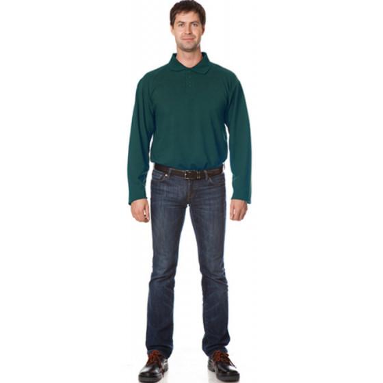Рубашка Поло с длинным рукавом цвет темно-зеленый