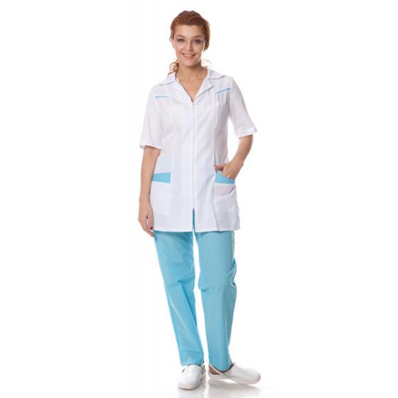 Костюм женский Жасмин (куртка+брюки), ткань смесовая,цв.белый-голубой