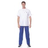 Костюм ВРАЧ (куртка+брюки), ткань смесовая, цвет белый-василек