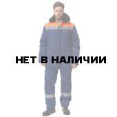 Костюм УРАЛ утепленный, (курт.+бр.),тк.Смесовая, цвет т.синий-оранж.