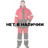 Костюм ГОРИЗОНТ утепленный (курт.+п.комб.), ткань Смесовая,цв.красн.-черн.