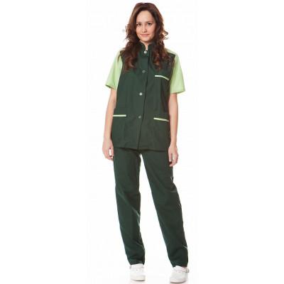0cd953cb828eb34 Костюм женский Весна (куртка+брюки), ткань смесовая,цв.зеленый ...