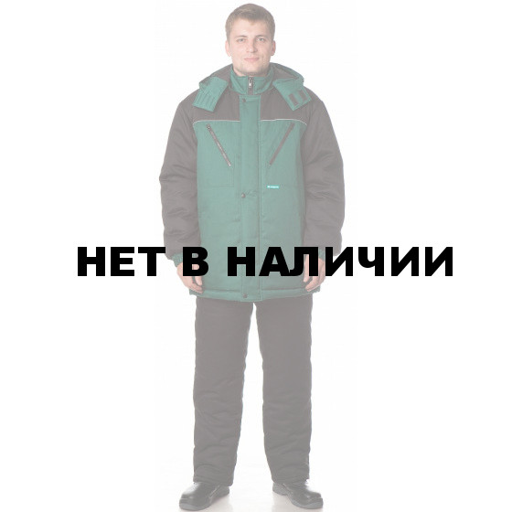 Костюм СНЕГОХОД утеп., (курт.+пк.), ткань Балтекс 1, цвет зел.-черн.