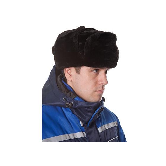 Шапка-ушанка (иск. мех), цвет черный