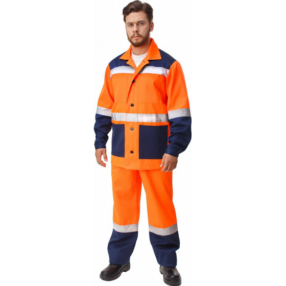 Костюм МАЯК-Н (куртка+п.комб.), ткань Смесовая, цвет оранж.-т.синий