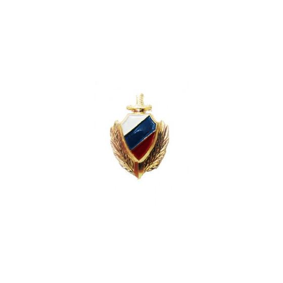 Эмблема петличная Милиции эмаль золотая металл