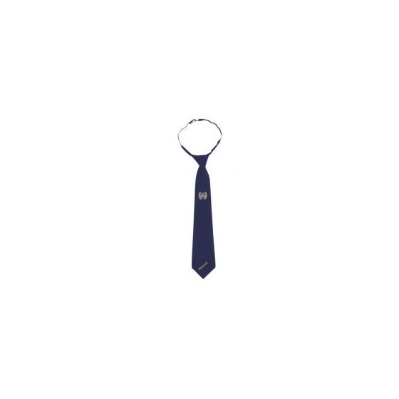 Галстук ДПС синий с вышивкой габардин