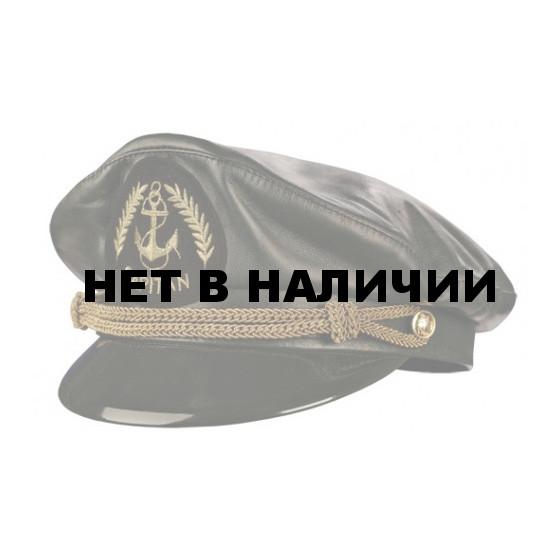 Капитанка кожаная черная с вышитым шевроном Capitan