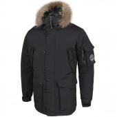 Куртка Аляска черная каматт натуральный мех
