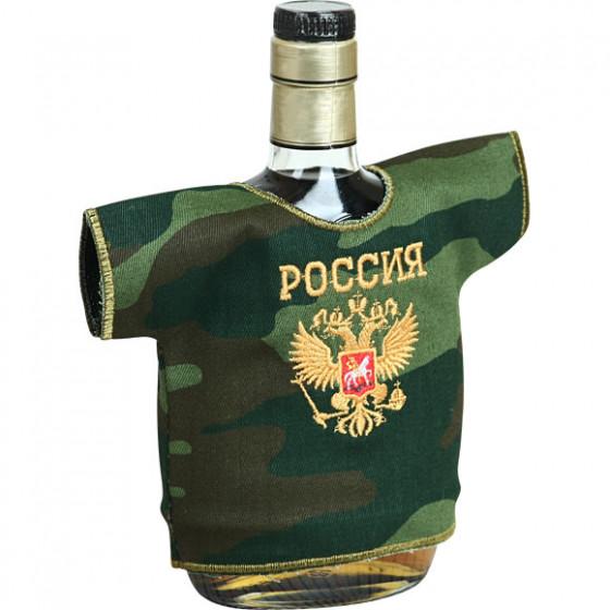 Рубашка-сувенир Россия Герб камуфлированная вышивка