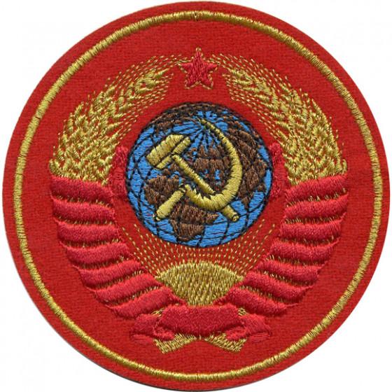 Нашивка на рукав Герб СССР красный фон вышивка люрекс