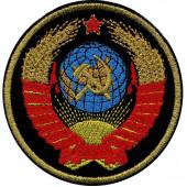 Нашивка на рукав Герб СССР чёрный фон малая вышивка люрекс