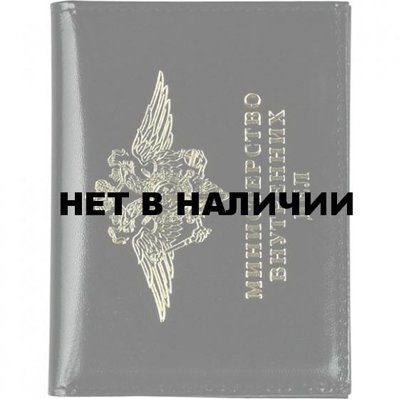 Обложка МВД РФ с металлической эмблемой и окном кожа