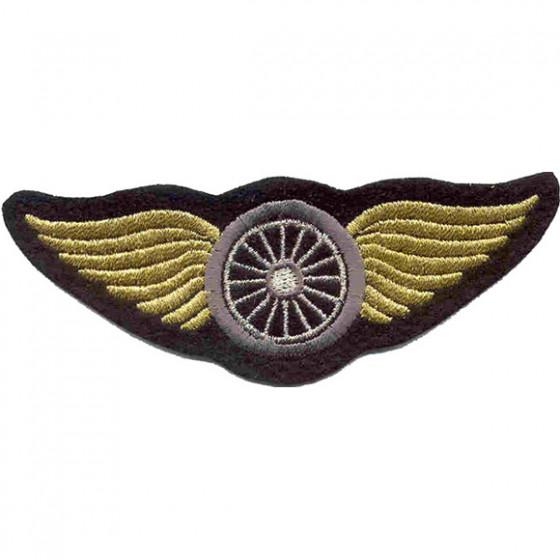 Термонаклейка -0034 Крылья золотые с колесом вышивка