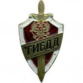 Нагрудный знак ГИБДД щит и меч красный металл