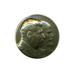 Нагрудный знак Ленин - Сталин золотой металл
