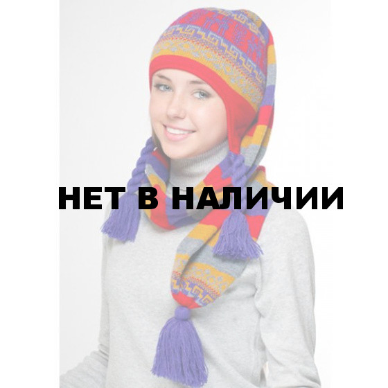 Шапка полушерстяная marhatter женская 4401 белый/сапфир