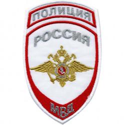 Нашивка на рукав Полиция Россия МВД парадная белая вышивка люрекс