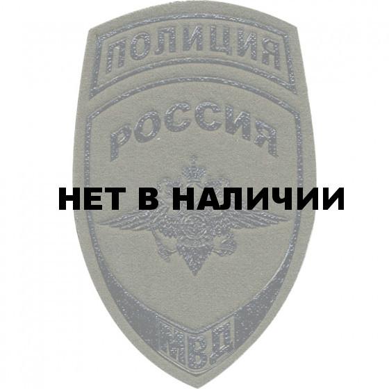 Нашивка на рукав Полиция Россия МВД полевая фон оливковый пластик