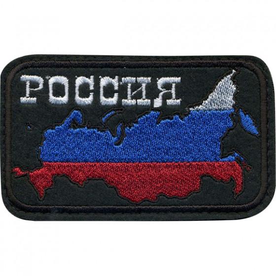 Нашивка на рукав с липучкой РОССИЯ триколор чёрный фон вышивка шёлк