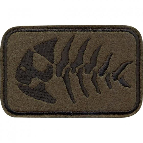Нашивка на рукав с липучкой Рыба скелет оливковый фон вышивка шёлк