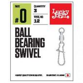 Вертлюги LUCKY JOHN c застеж. и подш. LJ Pro Series BALL BEARING SWIVEL 006 5 уп. по 3 шт