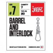 Вертлюги LUCKY JOHN c застеж. LJ Pro Series BARREL AND INTERLOCK Black 007 5 уп. по 7 шт