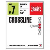 Вертлюги LUCKY JOHN трехстор. с бусин. LJ Pro Series CROSLINE 010 5 уп. по 7 шт