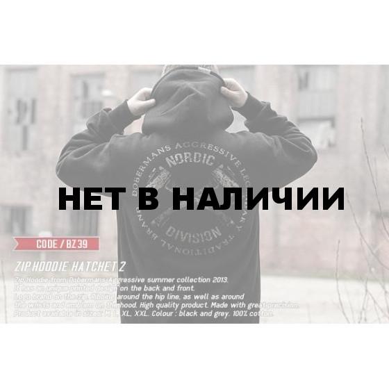 Толстовка Dobermans Aggressive с капюшоном Hatchet II BZ39 серая