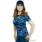 Футболка ProfArmy женская, короткий рукав, Navy Blue Camo
