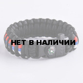 Браслет VoenPro Кобра компас-огниво-свисток 24 см черный/триколор 21 см
