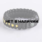 Браслет VoenPro Кобра компас-огниво-свисток 24 см черный/желтый